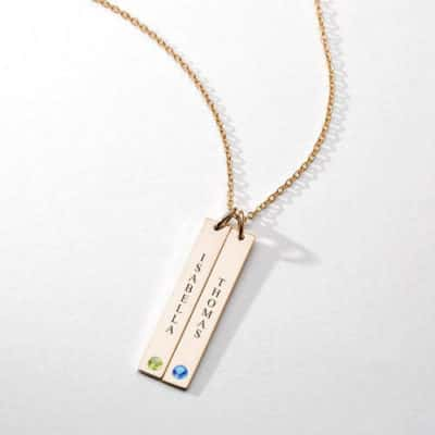 Soufeel Vertical Birthstone Bar Necklace With Two Names Gold-Plated