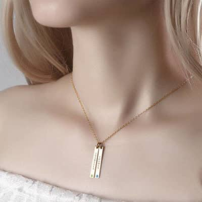 Japanese Girl Wearing Soufeel Vertical Birthstone Bar Necklace With Two Names