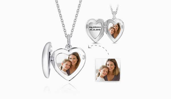 A Picture of a Mom and Her Baby Engraved Inside a Locket Necklace
