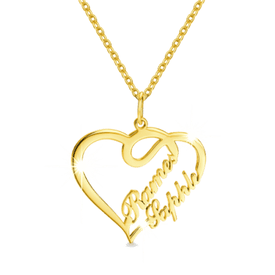 Soufeel Overlapping Heart-Shaped Gold Two Name Necklace