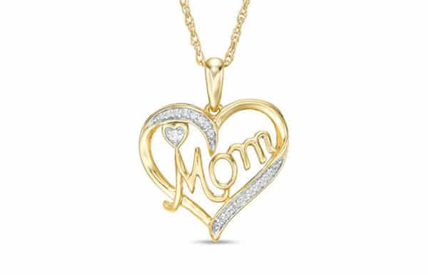 Zales Custom Diamond Heart-Shaped Pendant Necklace for Mom