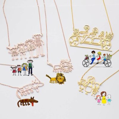 Line Drawing Style Custom Necklace Uses Kid's Drawing Work