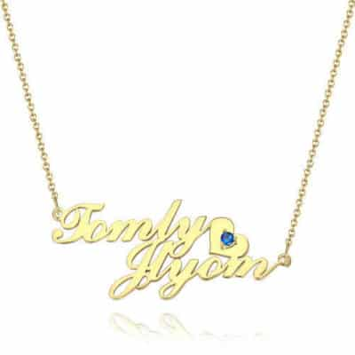 Classic Personalized Birthstone Name Necklace With Little-Heart-Shaped Birthstone Embellished