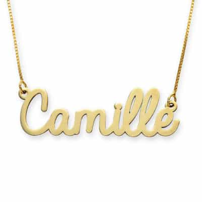 Cursive Yellow Gold Name Necklace 14K by My Name Necklace