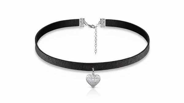 Custom Necklace Classification: Black Choker With Heart Charm