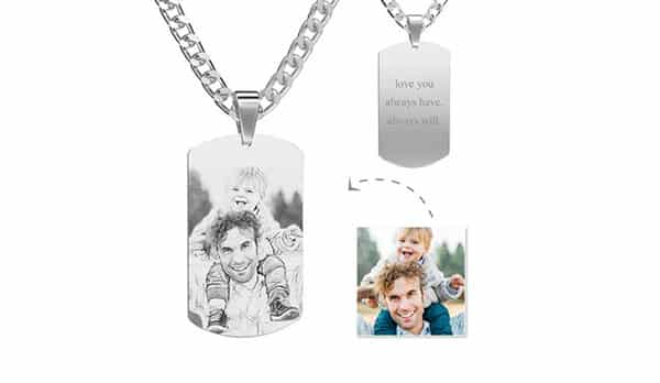 Photo of Dad and Baby Engraved by Machine on a Dog Tag Necklace
