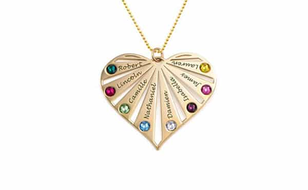Family Birthstone Necklace Heart-Shaped by My Name Necklace