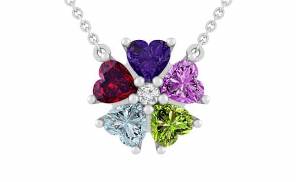 Flower-Shaped Pendant Multiple Birthstone Necklace Customized by Jared
