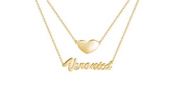 Layered 14k Gold Plated Nameplate Necklace - Name Necklace
