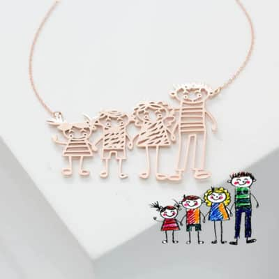 Line Drawing Family Picture Pendant: Adorable Gift as a Keepsake