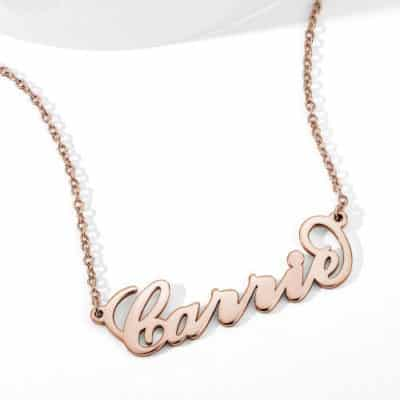 Rose Gold Carrie Style Name Necklace Crafted by Soufeel