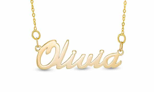 Script Gold Name Necklace by Zales: Multiple Metals for Choice