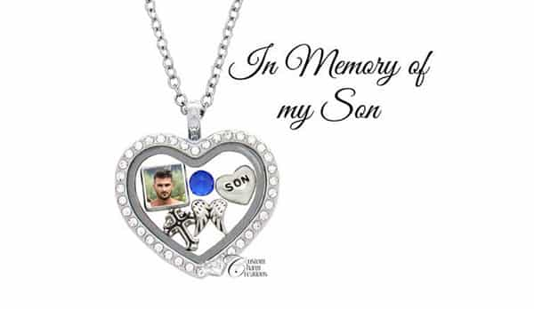 Heart-Shaped Locket Picture Necklace in Memory of My Son, With Birthstone and Nameplate Inside