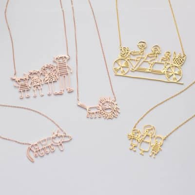 The Showcase of Line Drawing Style Picture Necklaces in Gold and Silver