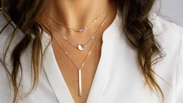 3-Layered Initial Necklace With Birthstone and Vertical Bar - SHEMISLI