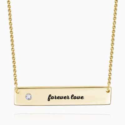 Soufeel 0.02 Carat Diamond Name Bar Necklace Yellow Gold