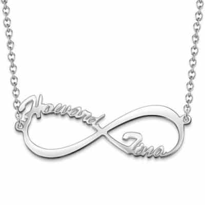 Soufeel Silver Infinity Name Necklace With 2 Names Weaved Into the Design
