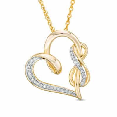 14K Gold Plated Infinity Necklace: Infinity Woven Around the Side of the Heart