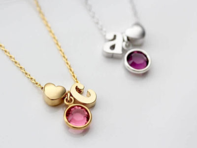 Adorable Child Initial Necklace With Letter, Birthstone and Heart Charm