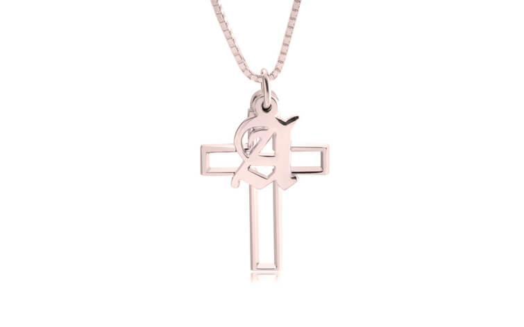 ONecklace's Cross Initial Necklace Rose Gold