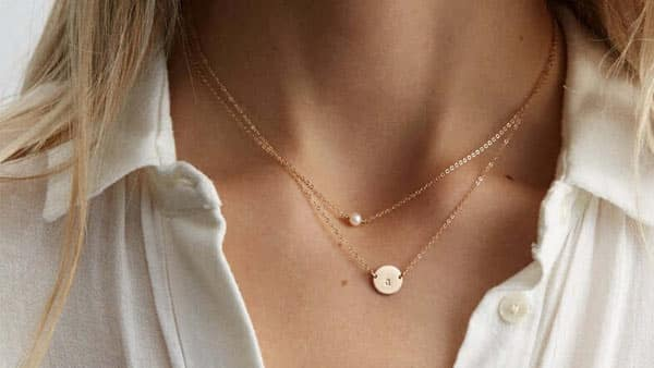 Custom 2-Layered Initial Disc Birthstone Necklace by GLDNxLayeredAndLong