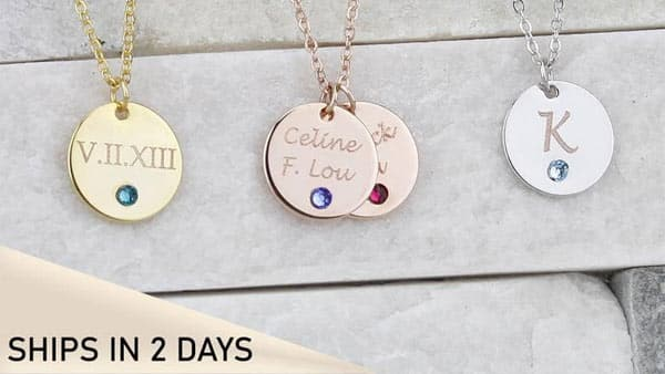 Custom Birthstone Coin Initial Necklace / Roman Numeral Necklace