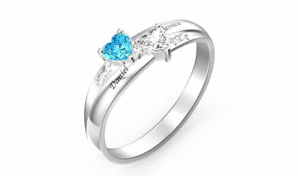Custom Engraved Double Heart-Shaped Birthstones Ring by Soufeel