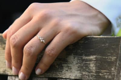 Personalized Diamond Cluster Ring Worn on the Finger of a Jewelry Model