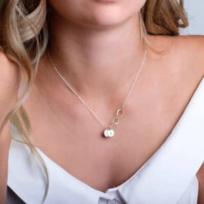 Custom Infinity Pendant Necklace for Mothers: Initials of Their Children