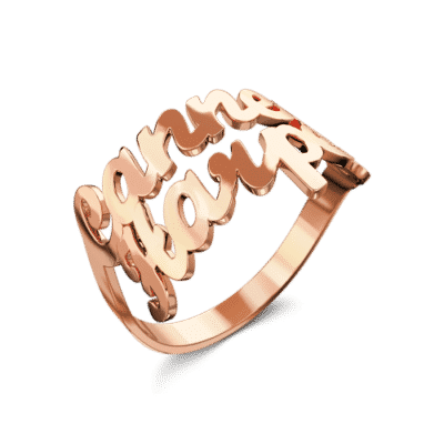 Rose Gold-Plated Silver Custom Name Ring by Soufeel
