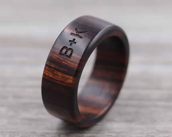 Custom Wood Ring With Engraved Message of Your Choice