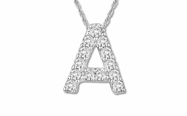 Round-Cut 10K White Gold Diamond Initial Necklace: Diamonds Embedded on the Base