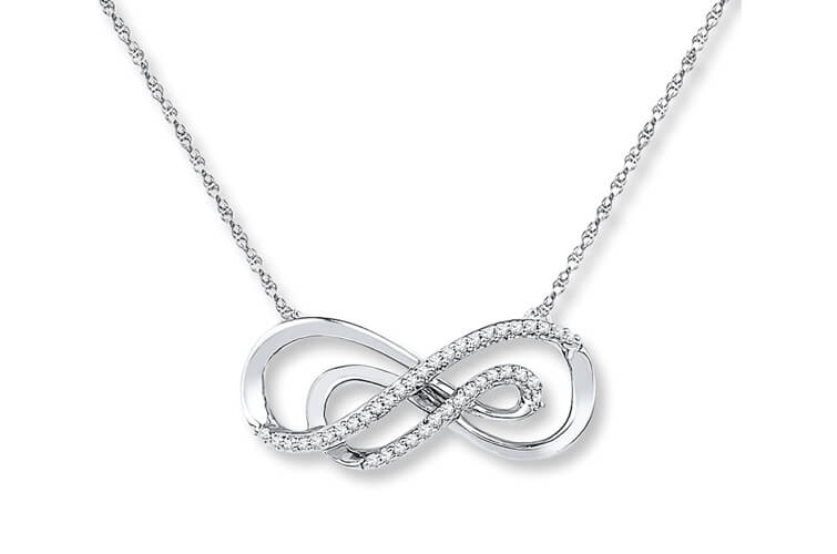 Sterling Silver Double Infinity Necklace With Small Diamonds Embedded