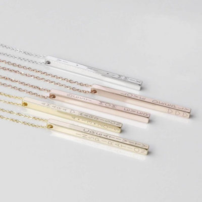 Engraved Vertical Bar Necklace for Women Gold, Rose Gold and Silver