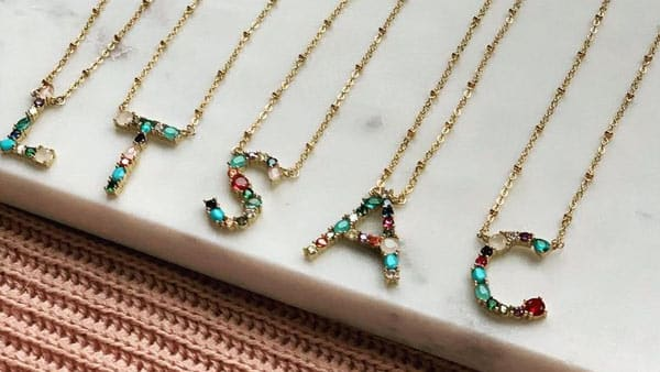 Big Initial Necklace With Colorful Gemstones/Birthstones Embedded On