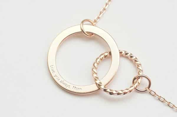 Infinity Mother Daughter Circle Necklace - Rose Gold