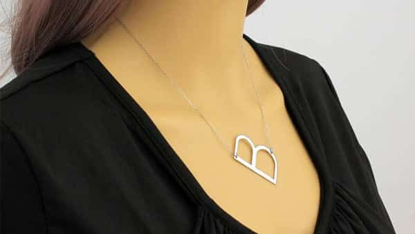 Large Initial Big Letter Necklace Crafted in Solid Sterling Silver