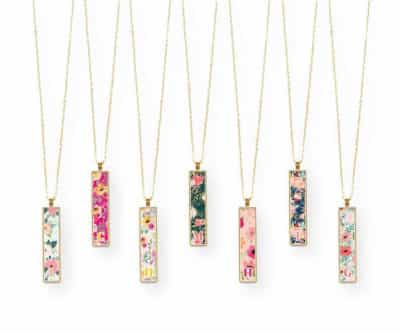 Colorful Initial Necklace With Vertical Custom Bar