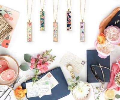 Poster: Colorful Floral Initial Necklace by ClearyLane