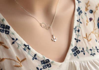 Personalized Infinity Knot Necklace: Anchor as a Lariat