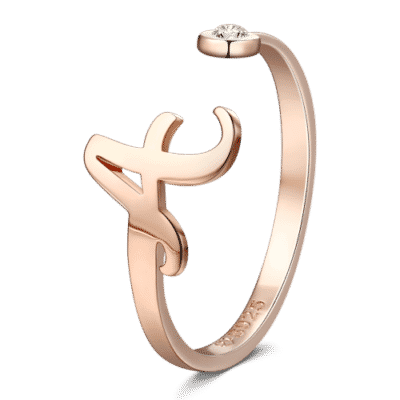 Rose Gold-Plated Silver Personalized Initial Ring on Soufeel