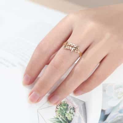 Custom Name Ring Worn on Finger