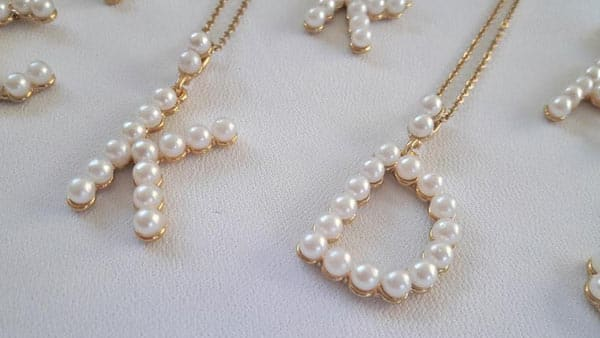 Personalized Pearl Initial Necklace: Large Letter