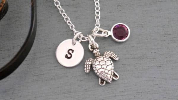 Personalized Turtle Pendant Initial Necklace With Birthstone Option