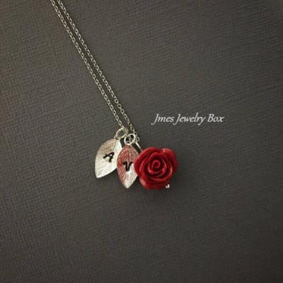 Red Rose Initial Leaf Necklace Best for Bridesmaids