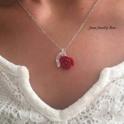 Red Rose Initial Necklace Leaf Charms: Paired With White Blouse