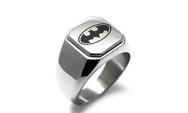 Stainless Steel Custom Biker Ring With Bat Pattern