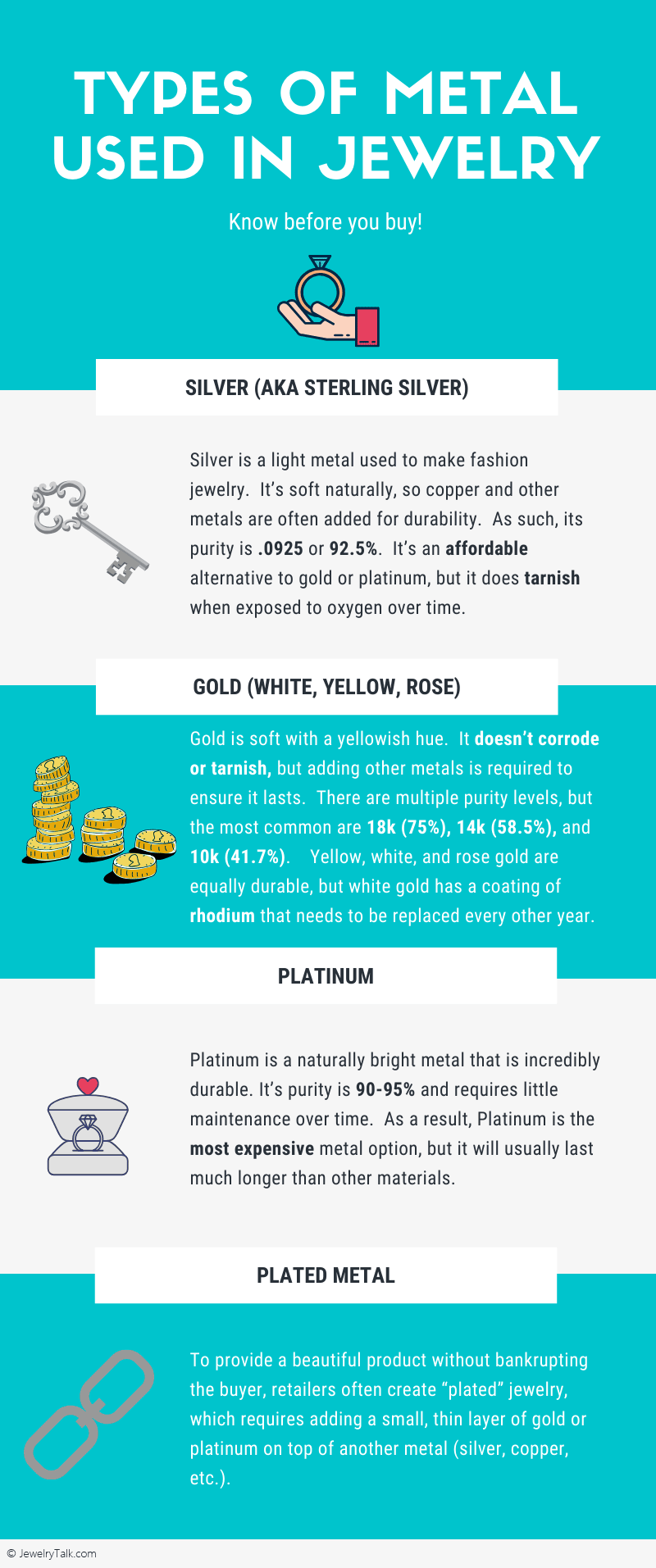 [Infographic] Types of Metal Used in Customizing Jewelry