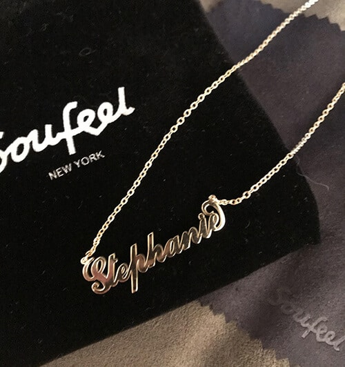 Soufeel Carrie Name Necklace With Velvet Bag and Cloth Included