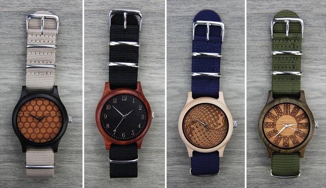 Custom Wooden Photo Watch With NATO Ballistic Nylon Strap